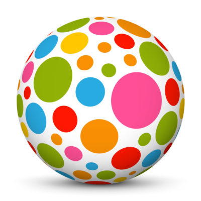 White Sphere with Lots of Colored Little Points On Surface