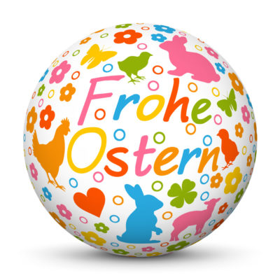 """White Easter Ball/Sphere with colorful Springtime Symbols and """"Frohe Ostern"""" Lettering in German Language"""