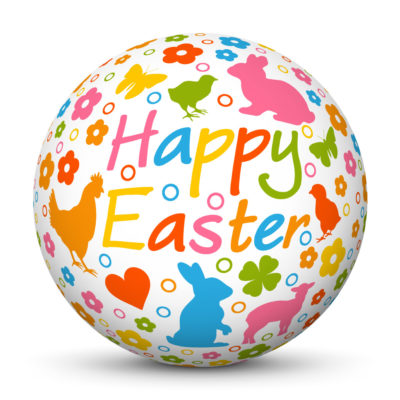 """White Easter Ball/Sphere with colorful Springtime Symbols and """"Happy Easter"""" Lettering"""