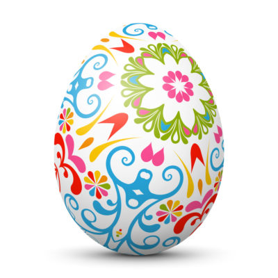 White Easter Egg/Orb with Abstract Colorful Ornamental and Bloomy Pattern