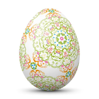 White Easter Egg/Orb with Abstract Flowery Pattern
