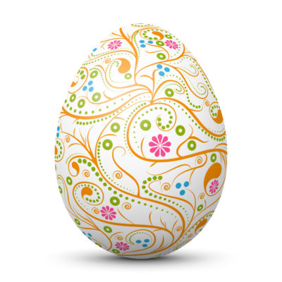 White Easter Egg/Orb with Abstract Ornamental Curlicue Pattern on Surface