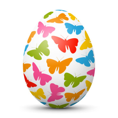 White Easter Egg/Orb with Colorful Butterflies on Surface