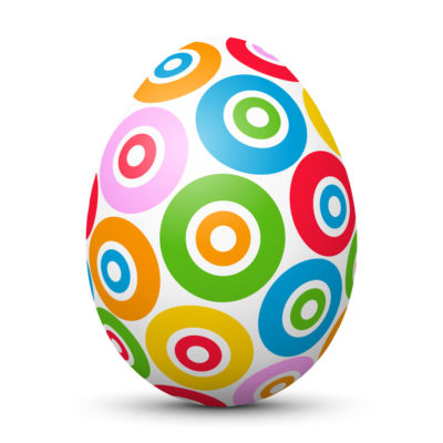 White Easter Egg/Orb with Colorful Circles and Dots on Surface