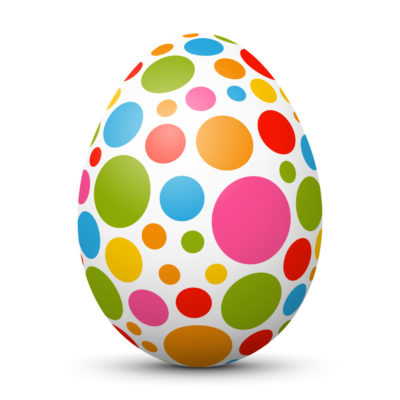 White Easter Egg/Orb with Colorful Dots on Surface