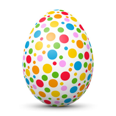 White Easter Egg/Orb with Colorful Small Dots on Surface