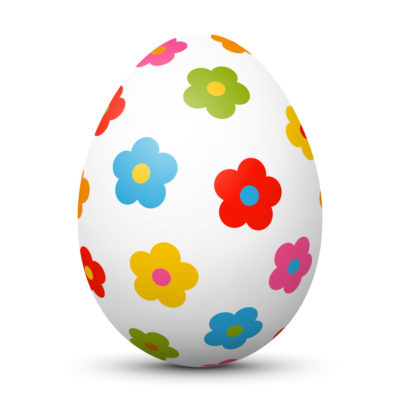 White Easter Egg/Orb with Colorful Flowers on Surface