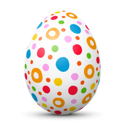 White Easter Egg/Orb with Colorful Hand Drawn Circles and Dots on Surface