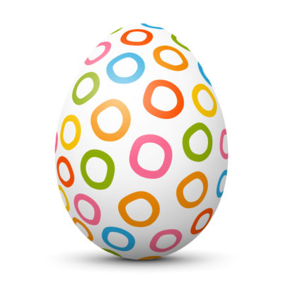 White Easter Egg/Orb with Colorful Hand Drawn Circles on Surface