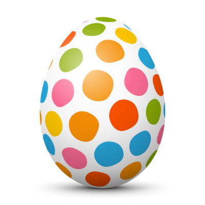 White Easter Egg/Orb with Colorful Hand Drawn Dots on Surface