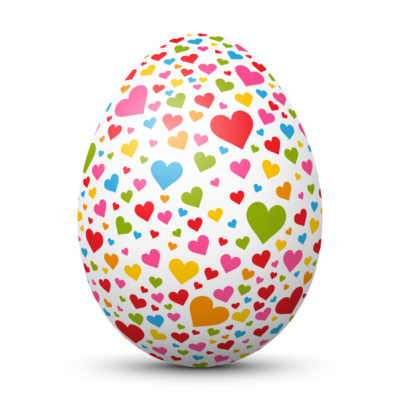 White Easter Egg/Orb with Colorful Hearts on Surface