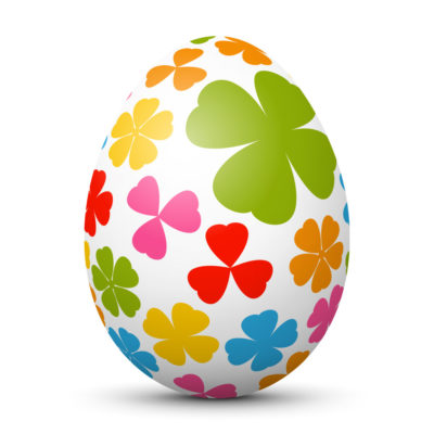 White Easter Egg/Orb with Colorful Shamrocks on Surface