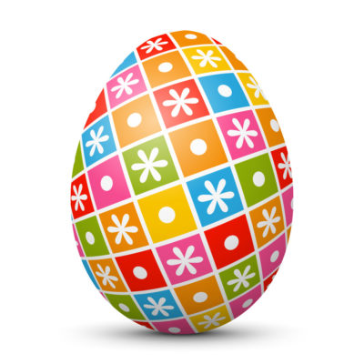 White Easter Egg/Orb with Colorful Squares and Dots on Surface
