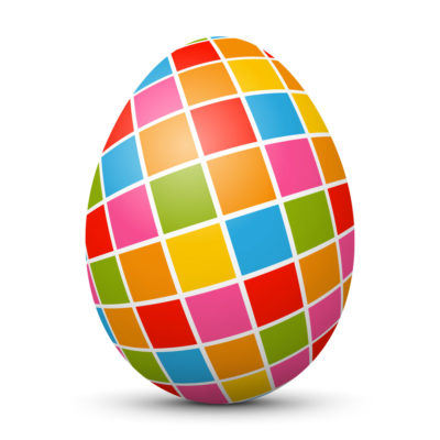 White Easter Egg/Orb with Colorful Squares on Surface