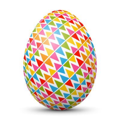 White Easter Egg/Orb with Colorful Triangles and Rhombus on Surface