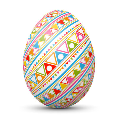 White Easter Egg/Orb with Colorful Triangles, Dots and Lines on Surface