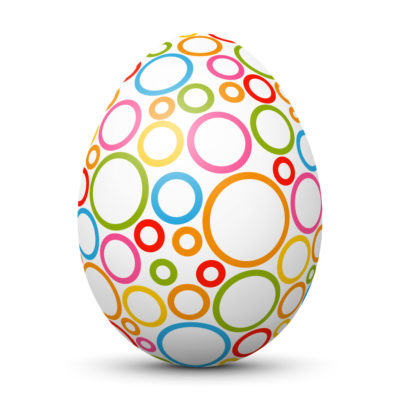 White Easter Egg/Orb with Colorful Circles on Surface
