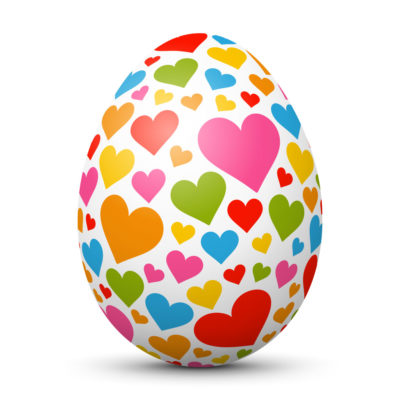 White Easter Egg/Orb with Colorful Small Hearts on Surface