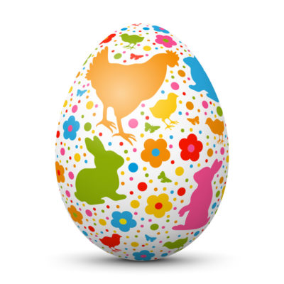 White Easter Egg/Orb with Colorful Springtime Symbols (Bunny, Chick, Dots and Flowers)