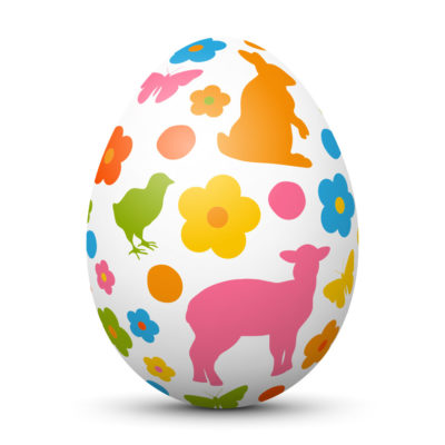 White Easter Egg/Orb with Colorful Bunny, Lamb, Chick and Flower Symbols