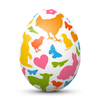 White Easter Egg/Orb with Colorful Springtime Symbols (Chick,Butterfly,Lamb,heart)