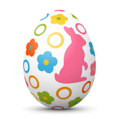 White Easter Egg/Orb with Colorful Springtime Symbols (Bunny, Flowers and Circles)