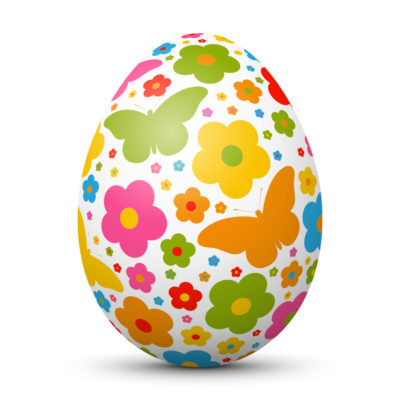 White Easter Egg/Orb with Fresh Springtime Colors - Flower and Butterfly Symbols