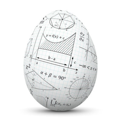 White Egg/Orb with Math Signs and Symbols on Graph Paper (Quad Paper)