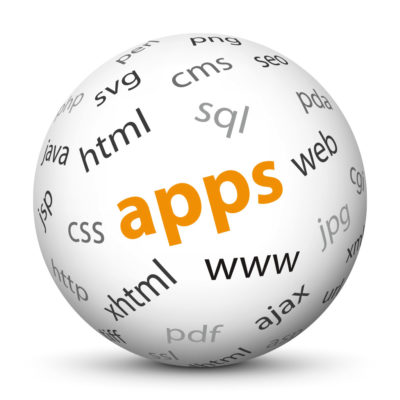 """White Sphere with Tag-Cloud / Word-Cloud! Keyword: """"apps"""""""