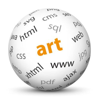 "White Sphere with Tag-Cloud / Word-Cloud! Keyword: ""art"""