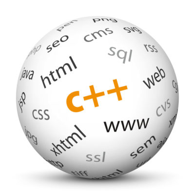 """White Sphere with Tag-Cloud / Word-Cloud! Acronym: """"c++"""""""