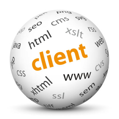 """White Sphere with Tag-Cloud / Word-Cloud! Acronym: """"client"""""""