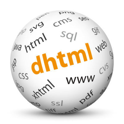 """White Sphere with Tag-Cloud / Word-Cloud! Acronym: """"dhtml"""""""