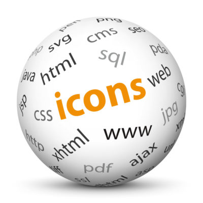 """White Sphere with Tag-Cloud / Word-Cloud! Keyword: """"icons"""""""