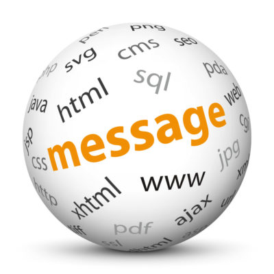 """White Sphere with Tag-Cloud / Word-Cloud! Keyword: """"message"""""""