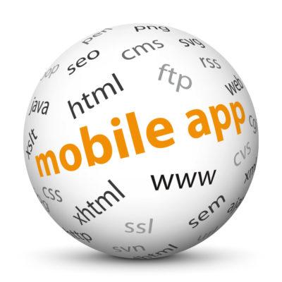 "White Sphere with Tag-Cloud / Word-Cloud! Keyword: ""mobile app"""