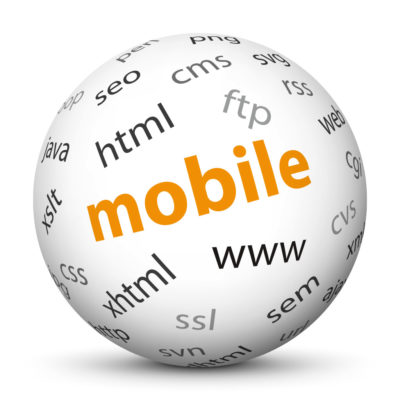 """White Sphere with Tag-Cloud / Word-Cloud! Keyword: """"mobile"""""""