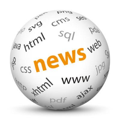 "White Sphere with Tag-Cloud / Word-Cloud! Keyword: ""news"""