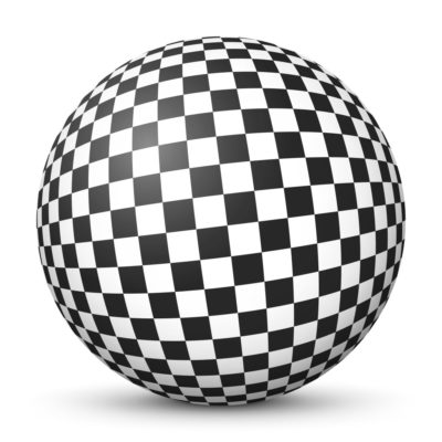 Black and White Sphere with checkerboard Pattern on Surface