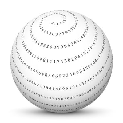 The Irrational Number PI Shown as a Spiral Infinite Decimal on a White Sphere