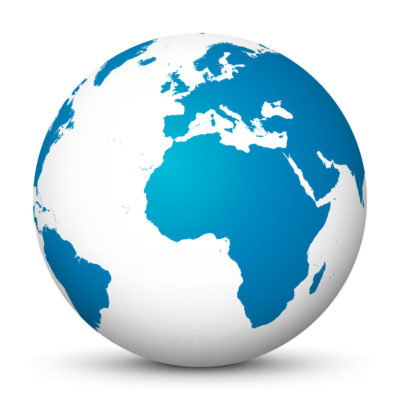 White Globe (Earth) with Blue Colored Continents – Use Our World for FREE!