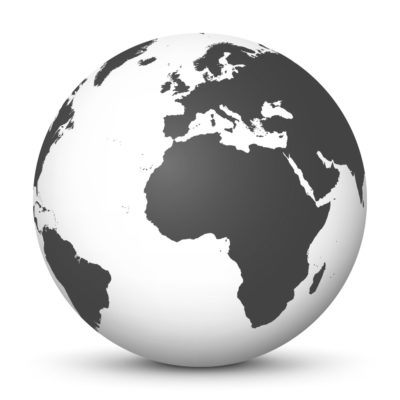 White Globe (Earth) with Gray Colored Continents – Use Our World for FREE!