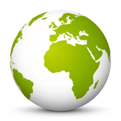 White Globe (Earth) with Lemon Green Colored Continents – Use Our World for FREE!