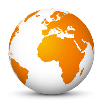 White Globe (Earth) with Orange Colored Continents – Use Our World for FREE!
