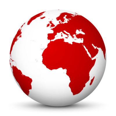 White Globe (Earth) with Red Colored Continents – Use Our World for FREE!