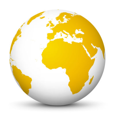 White Globe (Earth) with Yellow Colored Continents – Use Our World for FREE!