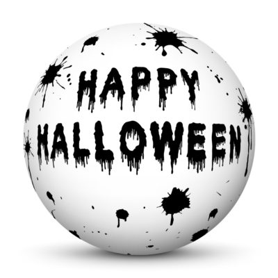 """White Sphere with Black """"Happy Halloween"""" Lettering and Drops of Blood"""