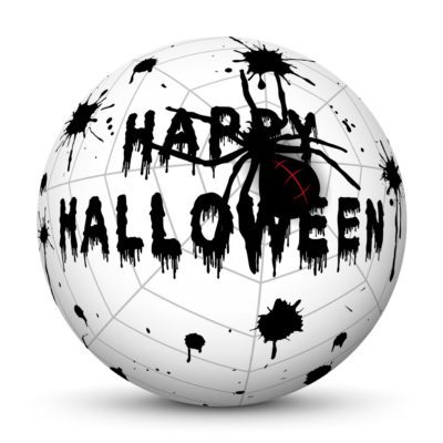 """White Sphere with Black """"Happy Halloween"""" Lettering Blood Drops and Black Spider on Cobweb"""