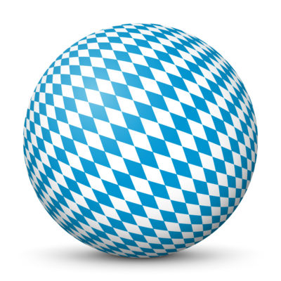 White Sphere with Blue Bavarian Pattern on Surface