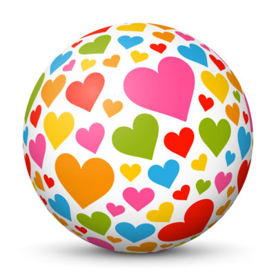 White Sphere with Colorful Heart Symbols/Icons on Surface (Love)
